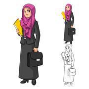 Muslim Businesswoman Holding Briefcase Stock Illustration