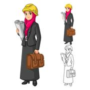 Muslim Woman Architect with Construction Hat - stock illustration