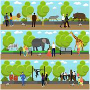Zoo concept banners. People visiting zoopark with family and kids. Animals - stock illustration