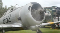 Australian Wirraway Fighter Plane With Engine Running Stock Footage