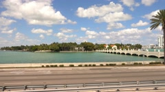 Bridge To Star Island Miami - home of the celebrities - stock footage