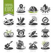 Summer camping icon set Stock Illustration