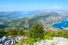 Beautiful view from above on Kotor and Tivat Bay, Montenegro - stock photo