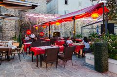 Chinese Restaurant Shanghai, Old Town, Budva, Montenegro Stock Photos