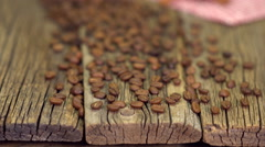 Coffee On Old Wood Table Background Stock Footage