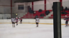 Ice hockey players shaking hands before match, referee starts the game, sport Stock Footage