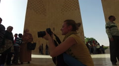 Tourists at the Russian-Egyptian Friendship Monument. Stock Footage