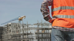 Site manager in his construction yard - stock footage