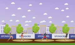 Sport of athletics concept vector illustration. Track and field competition Stock Illustration