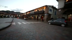 City centre of Cusco in Peru with a car - stock footage