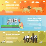 Zoo concept banners. Animals in zoopark, panda, zebra, lions. Vector Stock Illustration