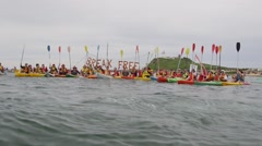 Global warming - port blockade - kayak protest, Newcastle, Australia Stock Footage
