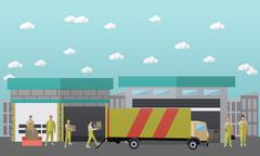 Logistic and delivery service concept banner. Warehouse. Vector illustration in - stock illustration