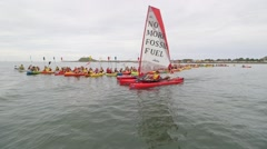 Global warming protest - Break Free No More Fossil Fuels flotilla Stock Footage