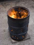 oil drum fire - stock photo