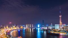 Time lapse-ShangHai Skyline at night Stock Footage