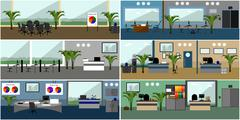 Office interior. Vector illustration in flat style design. Modern  rooms with - stock illustration