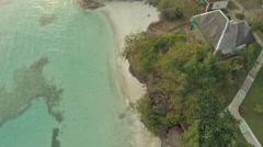 Paradise beach and beautiful pool. Philippines. Aerial view Stock Footage