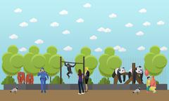 Zoo concept banner. People visiting zoopark with family and kids. Animals Vector Stock Illustration