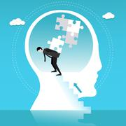 Man builds puzzle in human head. Concept vector illustration Stock Illustration