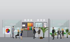 Flat design of business people or workers. Office interior. Presentations and Stock Illustration