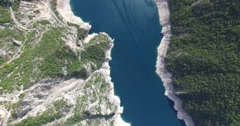 Aerial view of famous Piva Canyon with its fantastic reservoir in Montenegro - stock footage