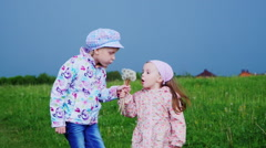 Two girls blow away dandelion seeds - spring fun Stock Footage
