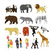 Zoo animals isolated on white background. Vector illustration. Wild african - stock illustration