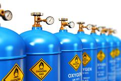 Row of liquefied oxygen industrial gas containers - stock illustration