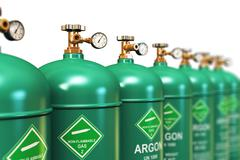 Row of liquefied argon industrial gas containers - stock illustration