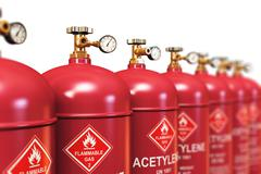 Row of liquefied acetylene industrial gas containers Stock Illustration
