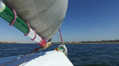 Felucca sailing down the Nile Stock Footage