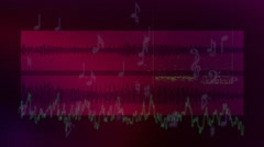 Dark purple audio background with waveforms and musical notes - stock footage