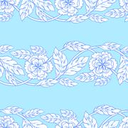 Vector seamless background with borders. Intricate ornament made of twisted - stock illustration