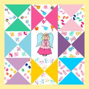 baby shower design,cute quilts for baby - stock illustration