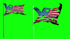 Apocalyptic ragged flag of America. Realistyc 3d animation on wind. green screen Stock Footage