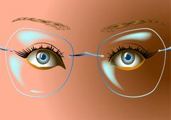 the woman's face with glasses - stock illustration