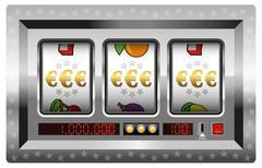 Slot Machine Win Euro Symbol Silver - stock illustration
