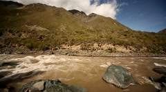 Train from Cusco to the Inca City Machu Picchu in a nice scenery Stock Footage