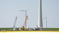 Wind park in a landscape in the Netherlands Stock Footage