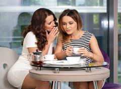 Girls friend in a cafe drinking tea and gossiping - stock photo
