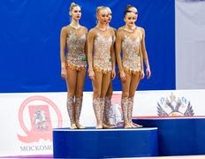 Russian team on podium - stock photo