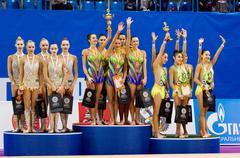 Podium of junior gymnasts - stock photo