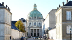Zoom Out of Frederik's Church in Copenhagen Denmark Stock Footage