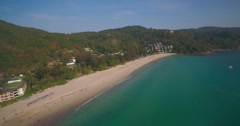 Aerial Ascending Pan Shot of Tropical Beach and Aqua Sea in Phuket Thailand Stock Footage