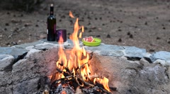 Evening campfire on the background of a still life Stock Footage