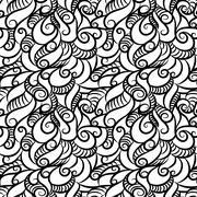 Curly seamless pattern - stock illustration