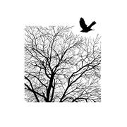 Winter tree in a square Stock Illustration