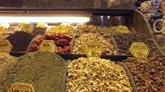 Spices and teas at Spice Bazaar Misir Carsisi Stock Footage