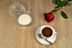 Coffee, sugar and red rose Stock Photos